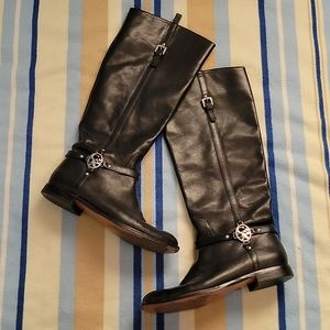 Coach Mulan black leather boots size 7.5
